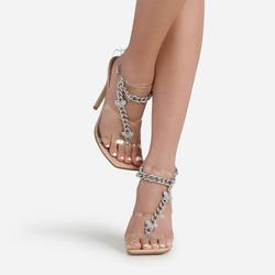 Cabana Diamante Gem Chain Detail Square Toe Heel In Nude Patent