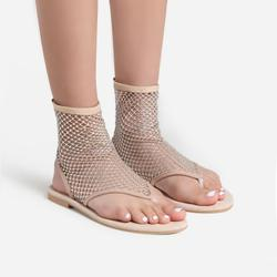 Glide Diamante Detail Ankle Flat Sandal In Nude Fishnet