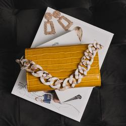 Chunky Chain Strap Shoulder Bag in Yellow Croc Patent