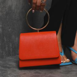 Hoop Wrist Handle Box Bag In Orange Faux Leather