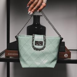 Chain Detail Cross Body Bag in Green Faux Leather