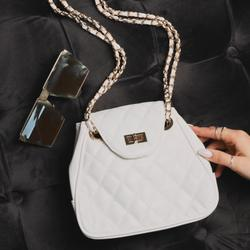 Quilted Shoulder Bag In White Faux Leather