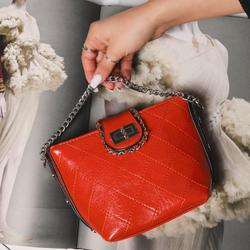 Chain Detail Cross Body Bag in Orange Faux Leather