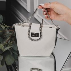 Chain Detail Cross Body Bag in White Faux Leather