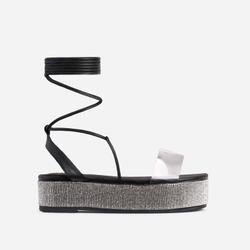 Lola Diamanate Detail Clear Perspex Lace Up Flatform Flat Sandal In Black Faux Leather