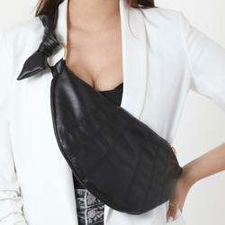 Knotted Detail Shoulder Bag In Black Faux Leather
