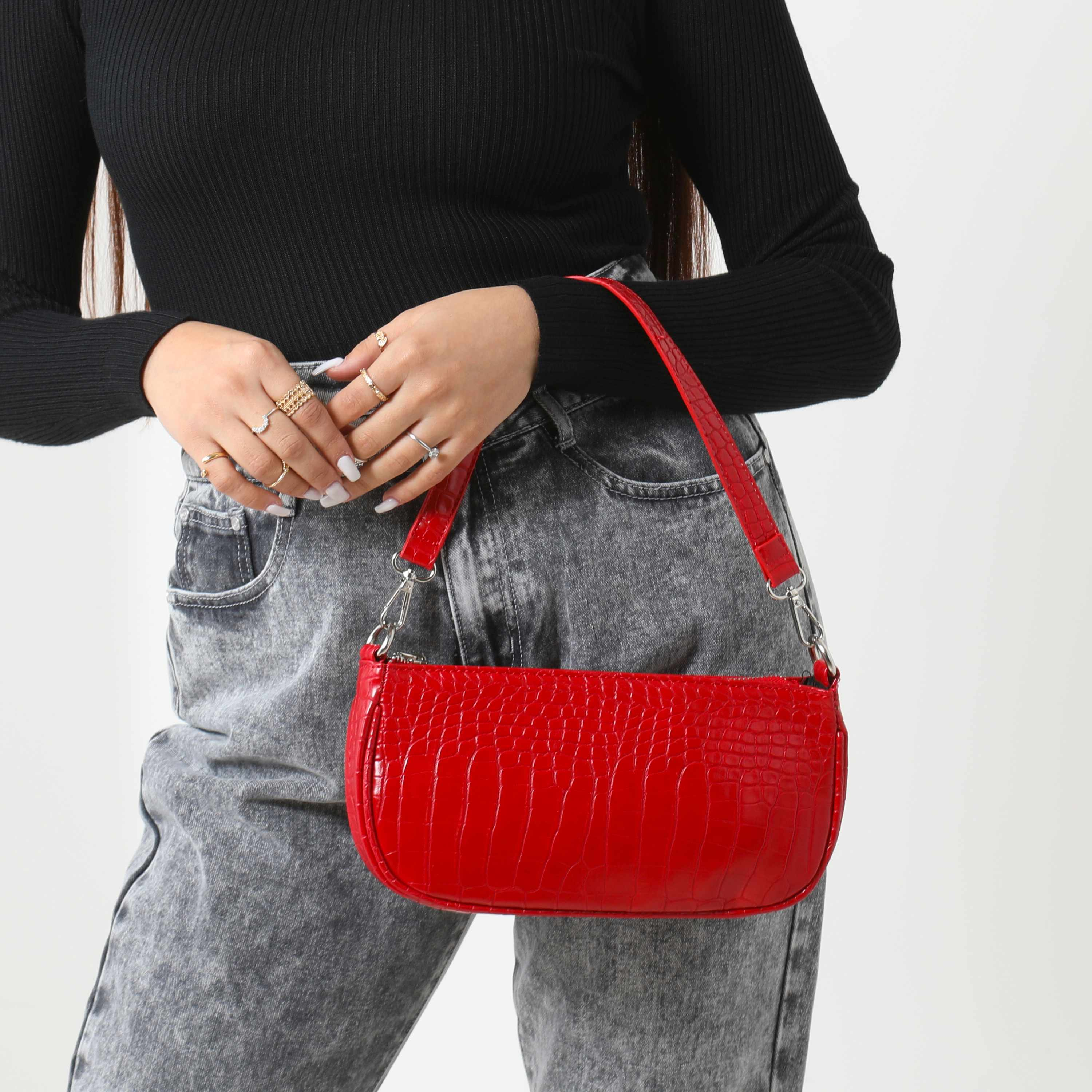 Baguette Bag In Red Croc Print Faux Leather