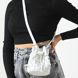 Woven Cross Body Bucket Bag In White Faux Leather