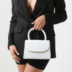 Single Handle Grab Bag In White Croc Print Patent