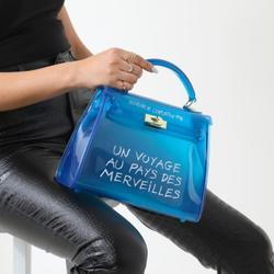 Graffiti Detail Perspex Grab Bag In Blue