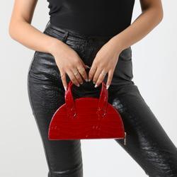 Half Circle Grab Bag In Red Croc Print Faux Leather