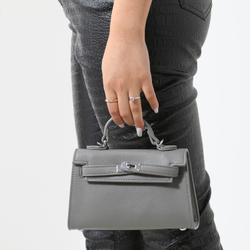 Lock Detail Mini Tote Bag In Grey Faux Leather