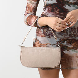 Baguette Bag In Nude Croc Print Faux Leather