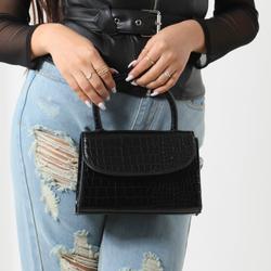 Single Handle Grab Bag In Black Croc Print Patent