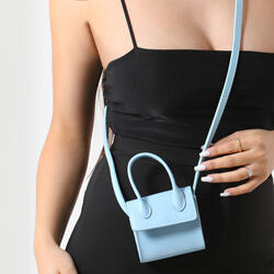 Single Handle Mini Grab Bag In Light Blue Faux Leather