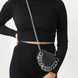 D Ring Detail Cross Body Saddle Bag In Black Faux Leather