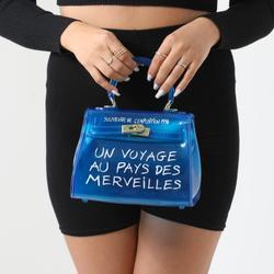Graffiti Detail Perspex Mini Bag In Blue