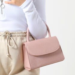 Single Handle Grab Bag In Blush Croc Print Patent