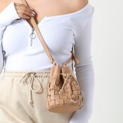 Woven Cross Body Bucket Bag In Nude Faux Leather