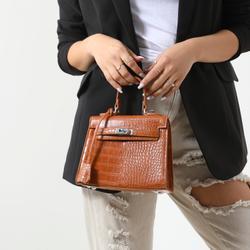 Lock Detail Tote Bag In Tan Croc Faux Leather