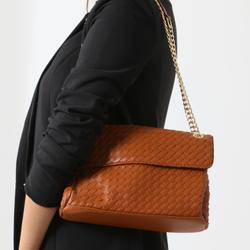 Woven Chain Strap Shoulder Bag In Tan Faux Leather