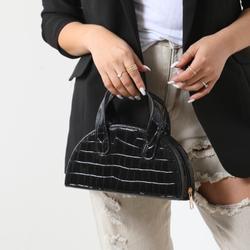 Half Circle Grab Bag In Black Croc Print Faux Leather