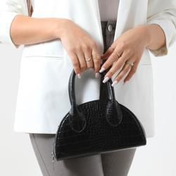 Half Circle Mini Grab Bag In Black Croc Print Patent