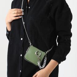 Hardware Detail Cross Body Mini Bag In Khaki Faux Leather