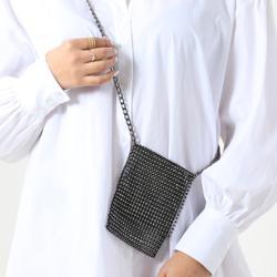 Cross Body Mini Bag In Black Diamante