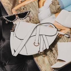 Curved Cross Body Saddle Bag In White Faux Leather