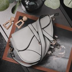 Curved Cross Body Saddle Bag In Grey Faux Leather