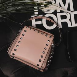 Studded Detail Cross Body Bag In Nude Faux Leather