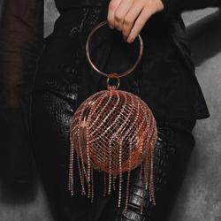 Diamante Sphere Bag In Rose Gold Diamante