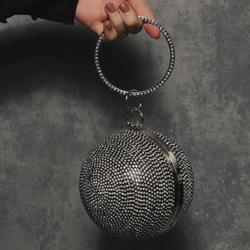 Sphere Bag In Black Diamante