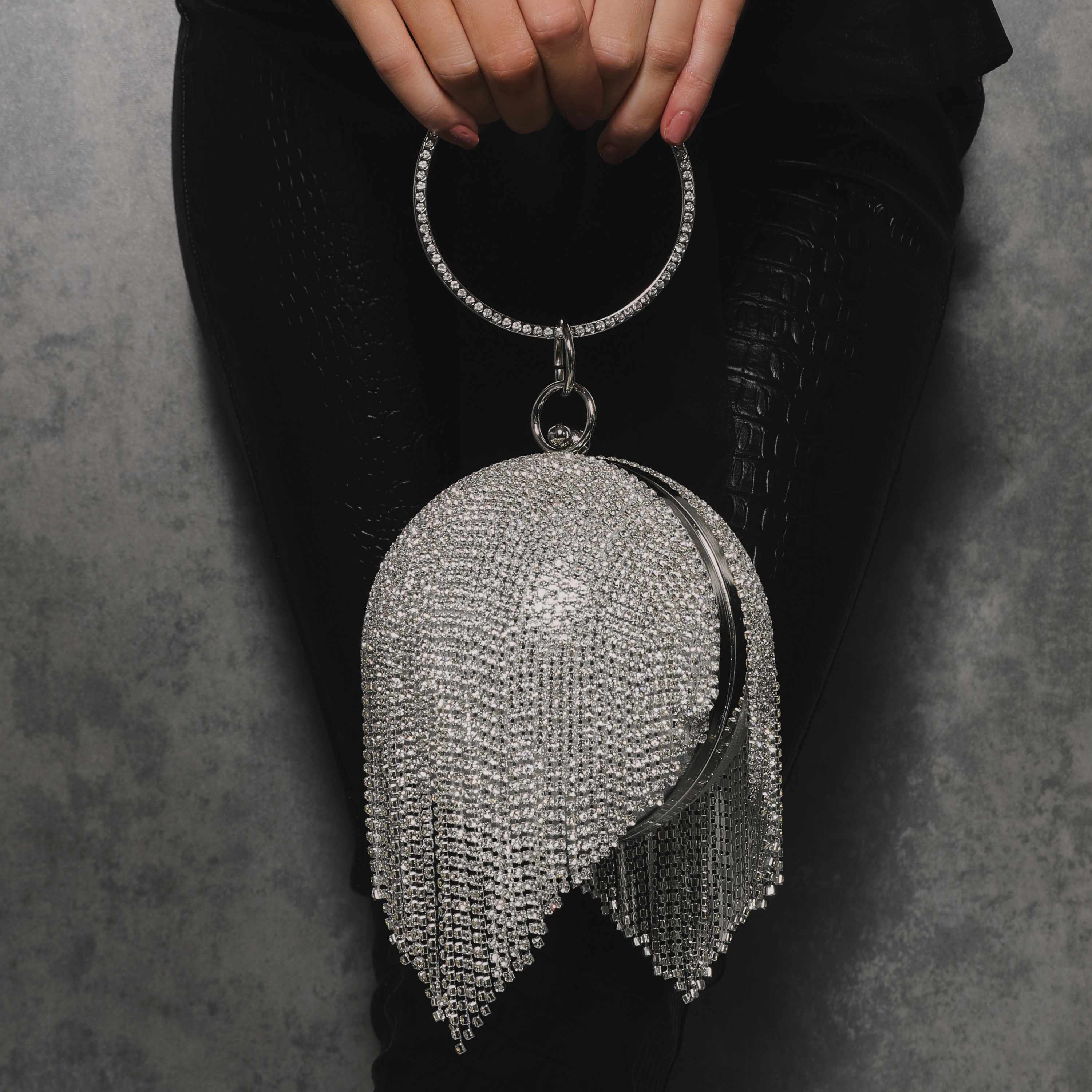 Tassel Detail Diamante Sphere Bag In Silver