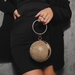 Sphere Bag In Gold Diamante