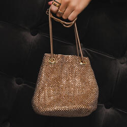 Cross Body Bucket Bag In Gold Diamante
