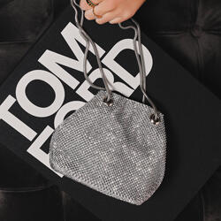 Cross Body Bucket Bag In Silver Diamante