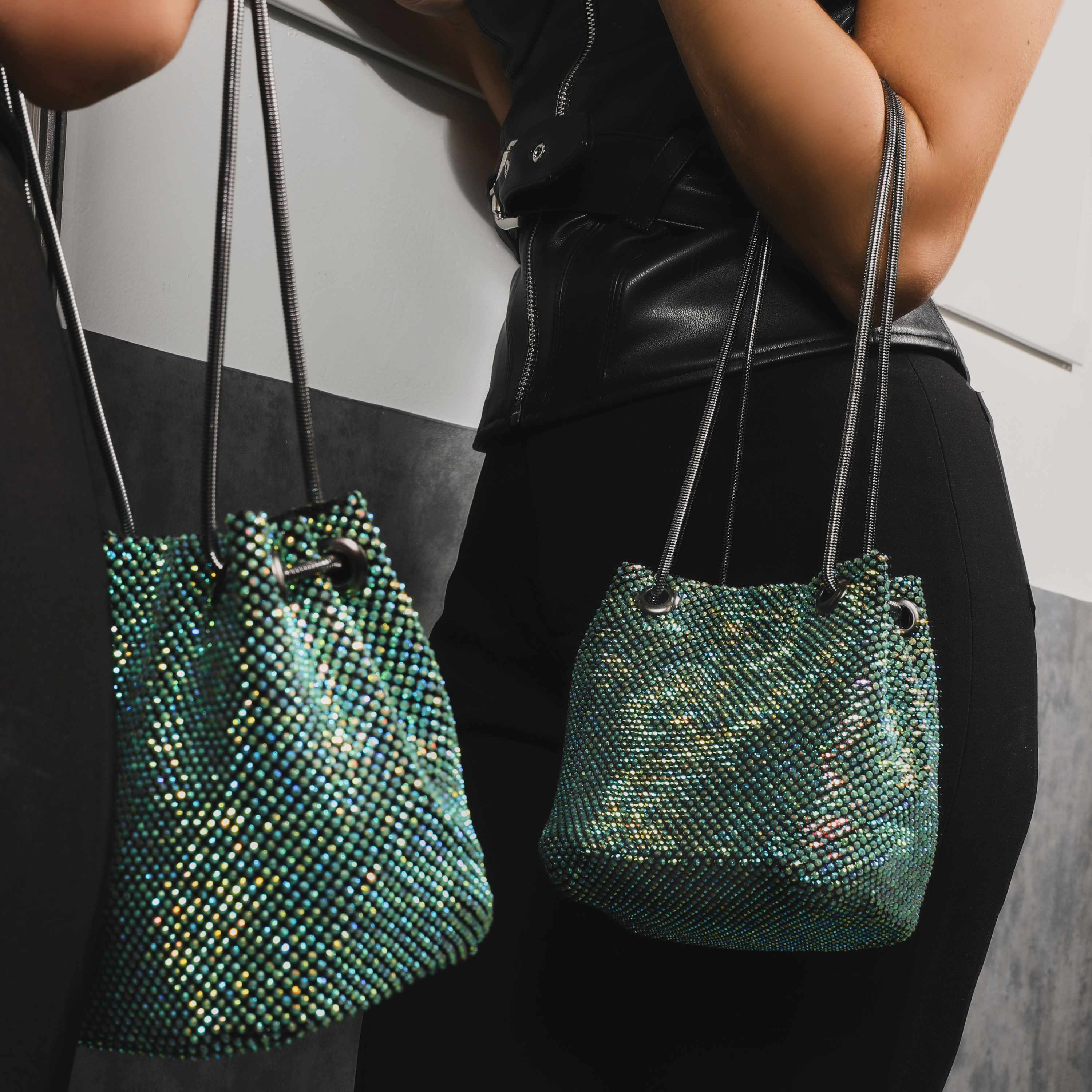 Cross Body  Bucket Bag In Green Diamante