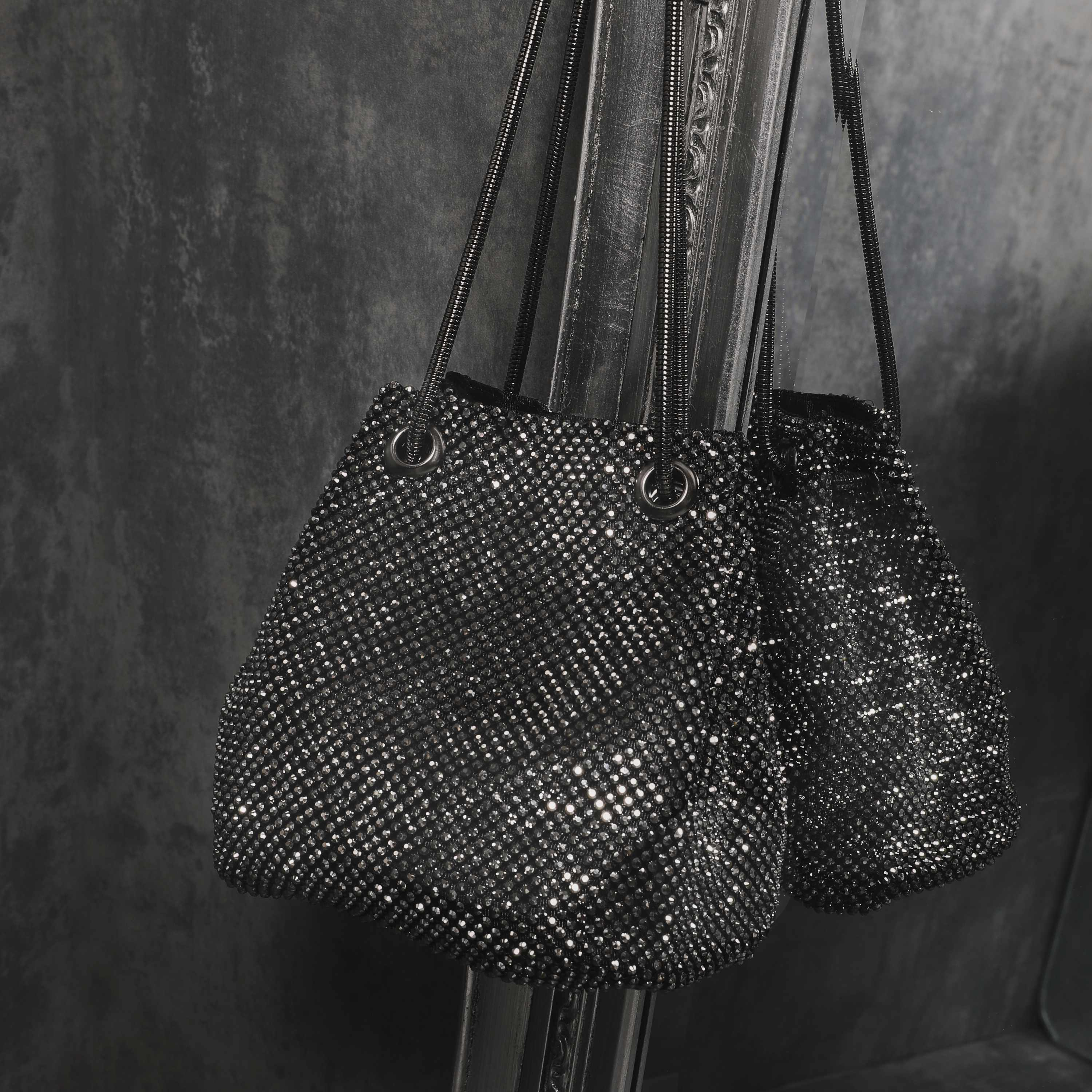 Cross Body Bucket Bag In Black Diamante