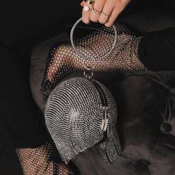 Tassel Detail Diamante Sphere Bag In Black