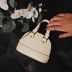 Micro Chain Detail Grab Bag In Beige Patent