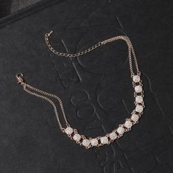 Circle Detail Diamante Detail Choker Necklace In Rose Gold