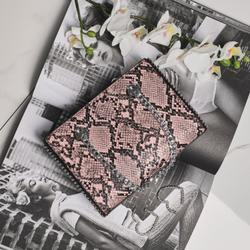 Studded Detail Shoulder Bag In Pink Snake Print Faux Leather
