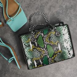 Studded Detail Shoulder Bag In Green Snake Print Faux Leather
