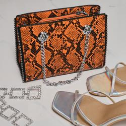 Studded Detail Shoulder Bag In Orange Snake Print Faux Leather