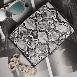 Studded Detail Shoulder Bag In Grey Snake Print Faux Leather