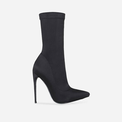 Fiona Pointed Toe Ankle Boot In Black Lycra Image 1