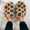 Kulture Fluffy Printed Detail Flat Slipper In Nude Faux Fur Image 1