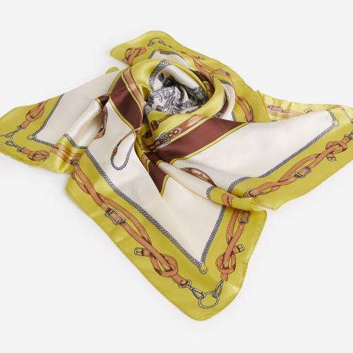 Chain Pattern Bandana Scarf In Yellow
